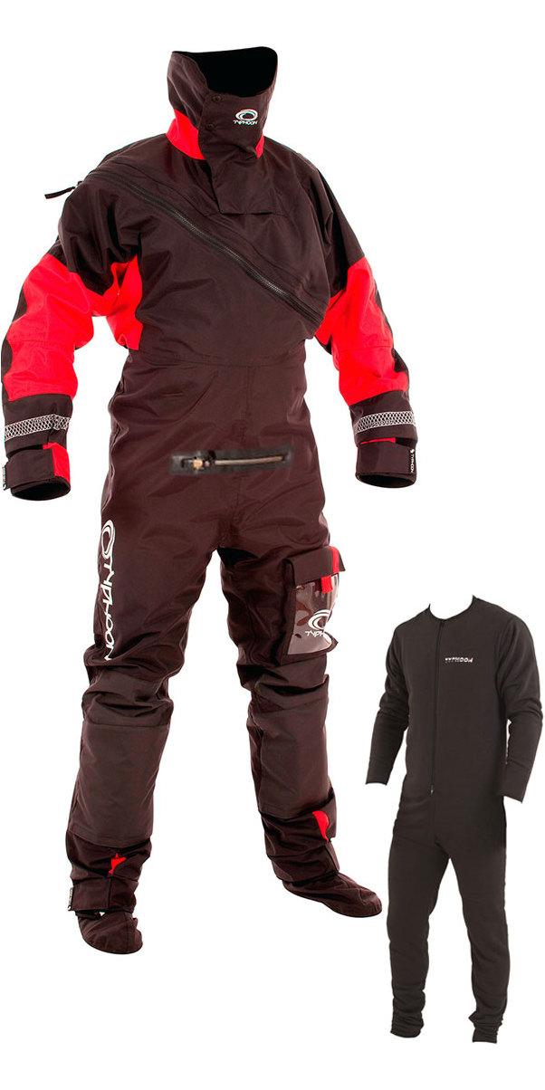 2019 Typhoon Max B Drysuit With Con Zip Inc Underfleece Black Red