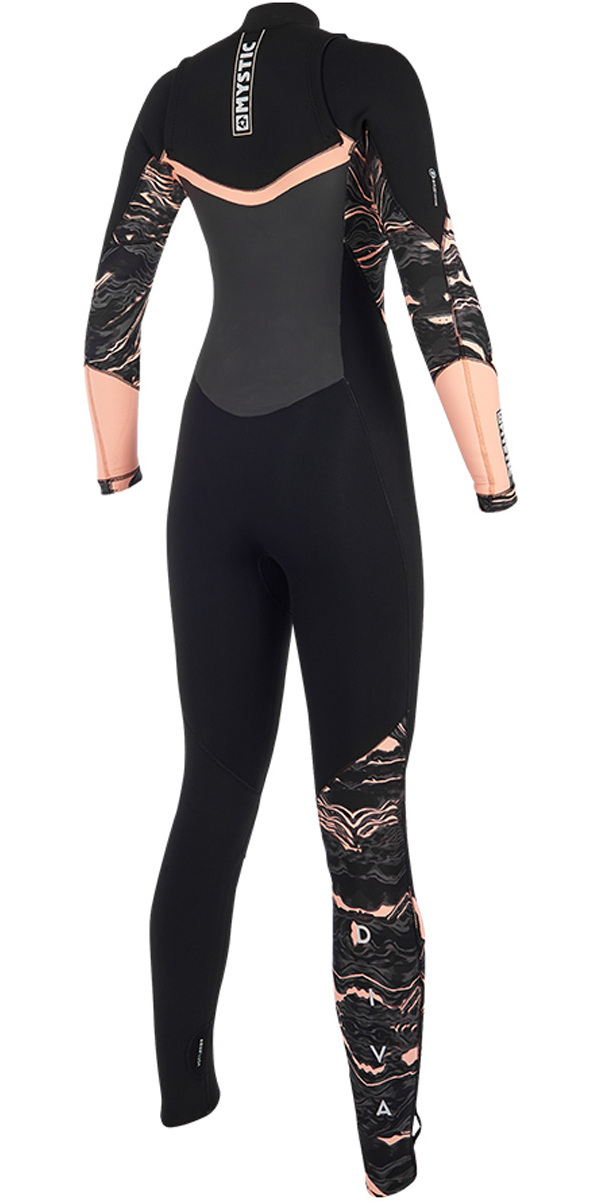 2019 Mystic Diva Womens 4/3mm GBS Chest Zip Wetsuit Black / Pink 190014