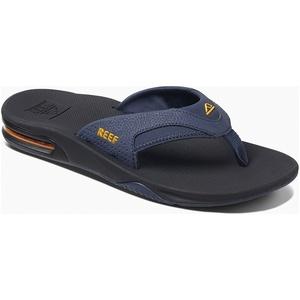2019 Reef Mens Fanning Sandals / Flip Flops Navy / Yellow RF002026