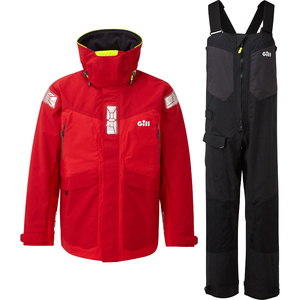 2021 Gill OS2 Mens Offshore Jacket & Trouser Combi Set - Red / Black