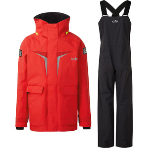 2020 Gill OS3 Junior Coastal Jacket & Trouser Combi Set - Bright Red / Graphite
