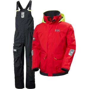 2021 Helly Hansen Mens Pier Sailing Jacket & Bib Trousers Combi Set - Alert Red / Ebony