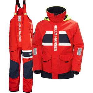2021 Helly Hansen Mens Salt Coastal Jacket & Trouser Combi Set - Red
