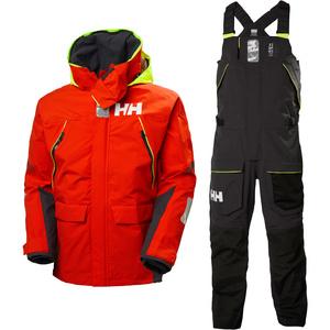 2021 Helly Hansen Mens Skagen Offshore Sailing Jacket & Trouser Combi Set - Cherry Tomato / Ebony
