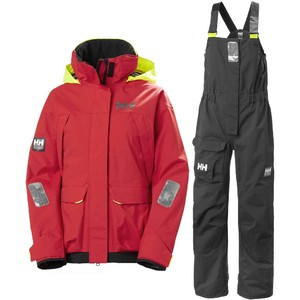 2021 Helly Hansen Womens Pier Coastal Sailing Jacket & Trouser Combi Set - Alert Red / Ebony