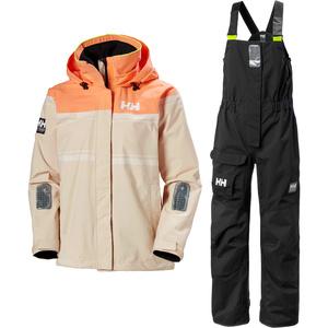 2020 Helly Hansen Womens Saltro Sailing Jacket & Pier Bib Combi Set - Shell / Ebony