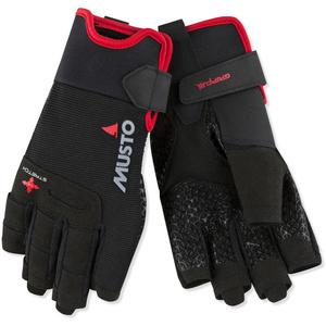 2021 Musto Performance Sailing Short Finger Gloves Black AUGL005