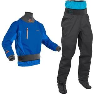 2020 Palm Mens Atom Whitewater Kayak Jacket & Trouser Combi Set - Cobalt / Jet Grey