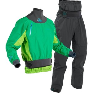 2020 Palm Mens Zenith Whitewater Kayak Jacket & Trouser Combi Set - Mint Lime /  Grey