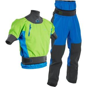 2020 Palm Mens Zenith Whitewater Short Sleeve Kayak Jacket & Trouser Combi Set - Lime / Blue
