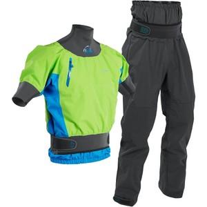 2020 Palm Mens Zenith Whitewater Short Sleeve Kayak Jacket & Trouser Combi Set - Lime / Grey