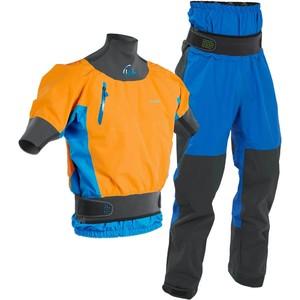 2020 Palm Mens Zenith Whitewater Short Sleeve Kayak Jacket & Trouser Combi Set - Sherbet / Blue