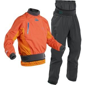 2020 Palm Mens Surge Whitewater Kayak Jacket & Zenith Dry Trouser Combi Set - Mandarin /  Grey