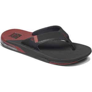 2020 Reef Mens Fanning Low Flip Flops / Sandals RF0A3KIH - Black / Rust