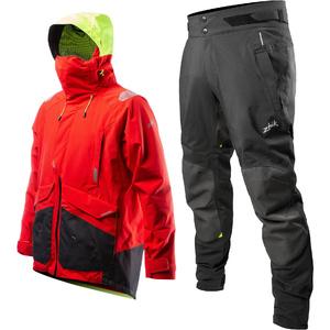 2020 Zhik Mens Apex Offshore Sailing Jacket & Trouser Combi Set - Fire Red / Anthracite Black