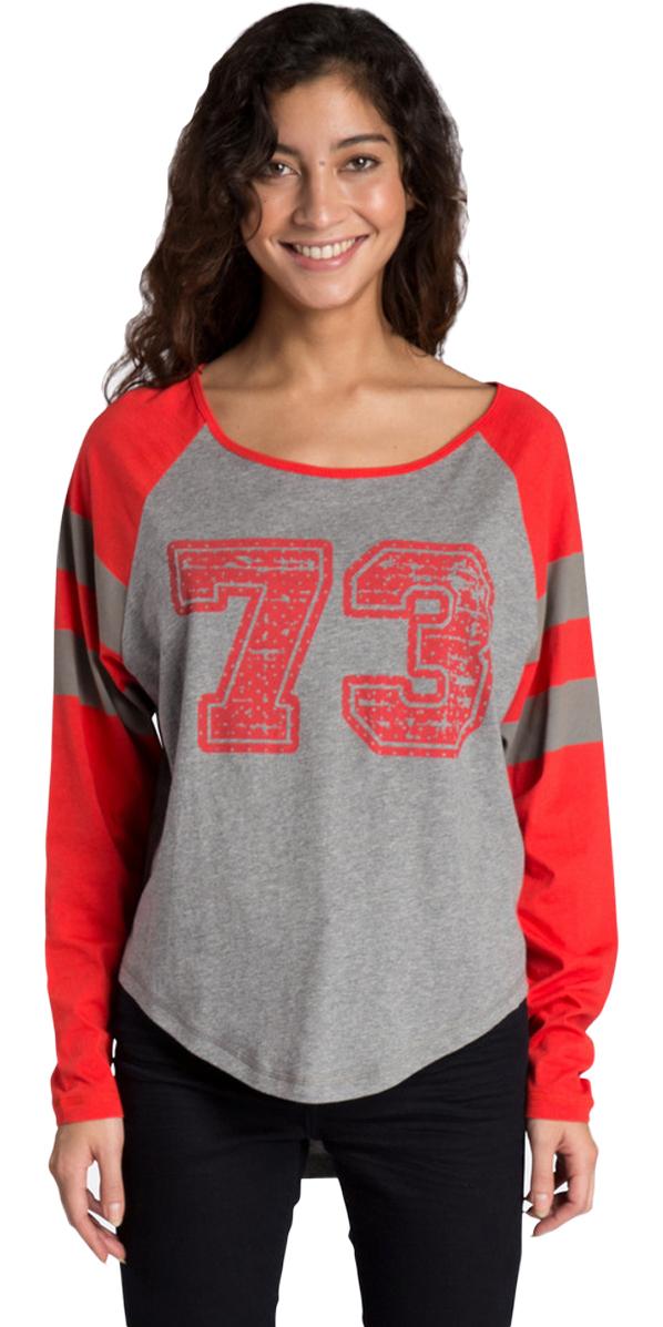 Billabong Ladies Varsity Long Sleeve T-Shirt DARK ATHLETIC GREY Z3LS04