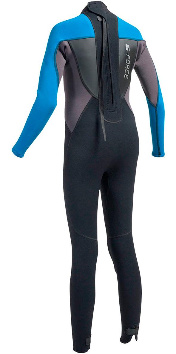 2018 Gul G-Force JUNIOR 3mm Back Zip Flatlock Wetsuit in Black / Zafer GF1307-A9