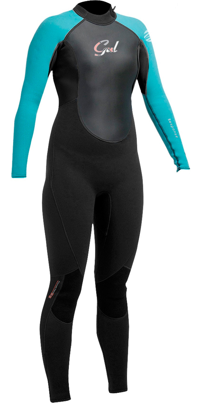 2017 Gul Response Girls 3/2mm Junior Wetsuit Black / Turquoise RE1323