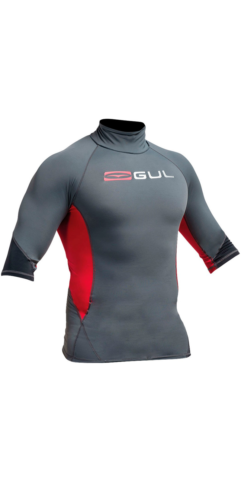 Gul 2019 Mens Xola Rash Vest Guard Short Sleeve Wetsuit Top UV Red Black