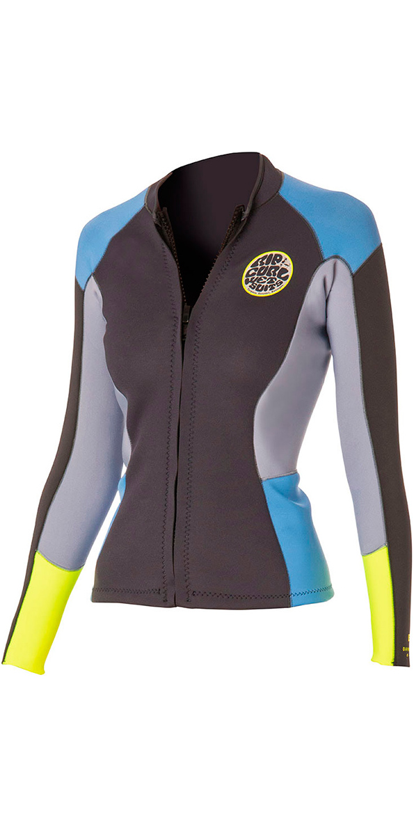 86a2d2118d Rip Curl Womens 1 5mm Dawn Patrol Long Sleeve Neo Jacket Blue Grey Wve4bw - Womens  Neoprene