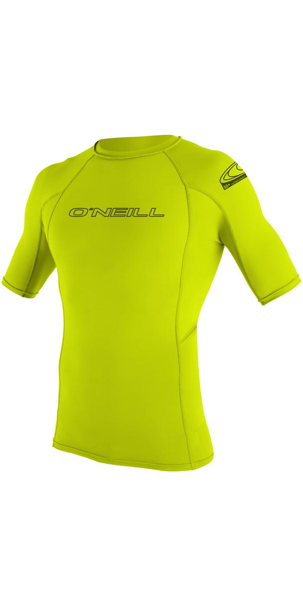2019 O'Neill Basic Skins Short Sleeve Crew Rash Vest LIME 3341