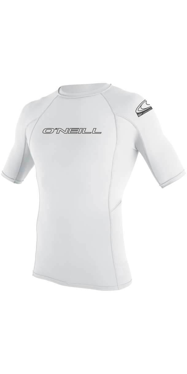 2019 O'Neill Basic Skins Short Sleeve Crew Rash Vest WHITE 3341