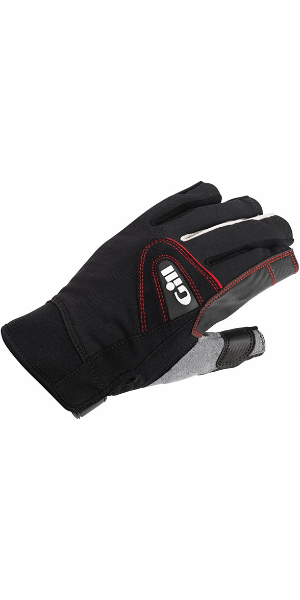 2018 Gill Championship Short Finger Sailing Gloves Black 7242