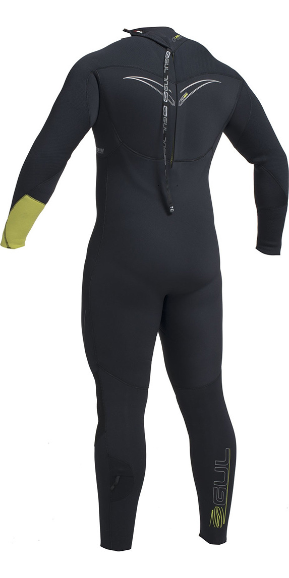 2019 Gul Response FX 5/4mm BS Back Zip Wetsuit Black / Lime RE1255-B1