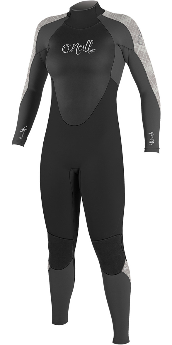 2018 O'Neill Womens Epic 4/3mm Back Zip GBS Wetsuit BLACK / GRAPH / VIDA 4214