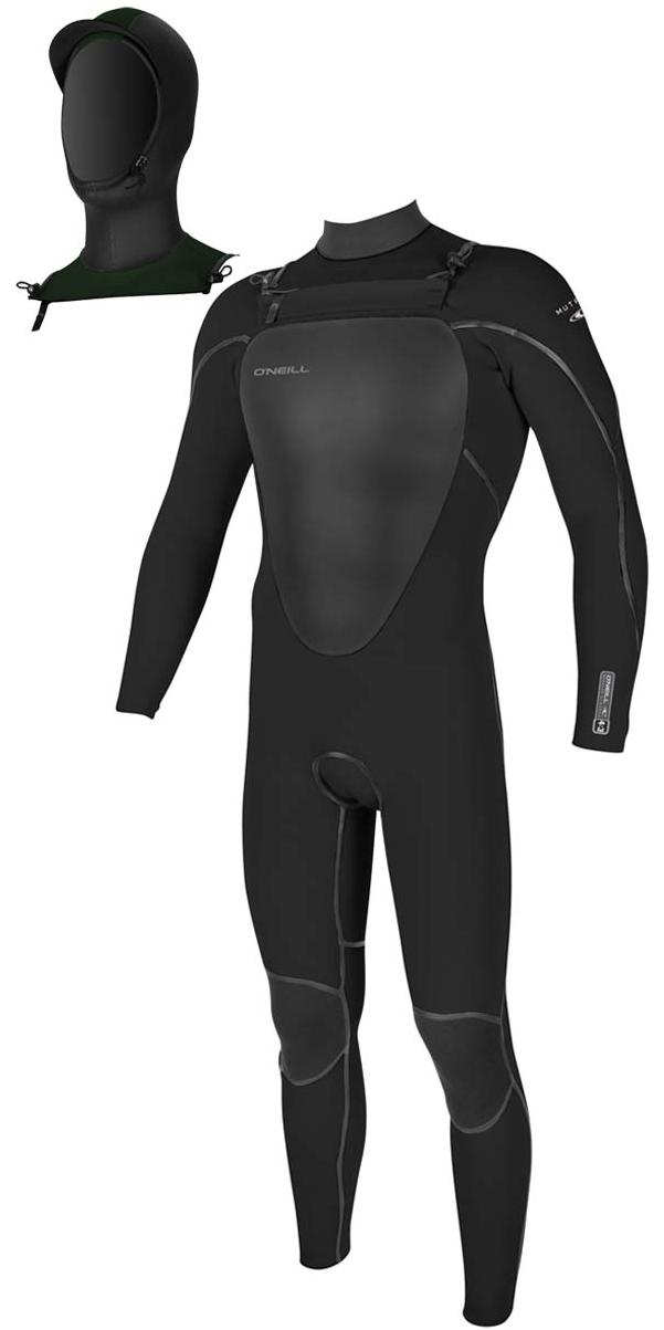 O'Neill Mutant 5/4mm Hooded Chest Zip Wetsuit BLACK 4762