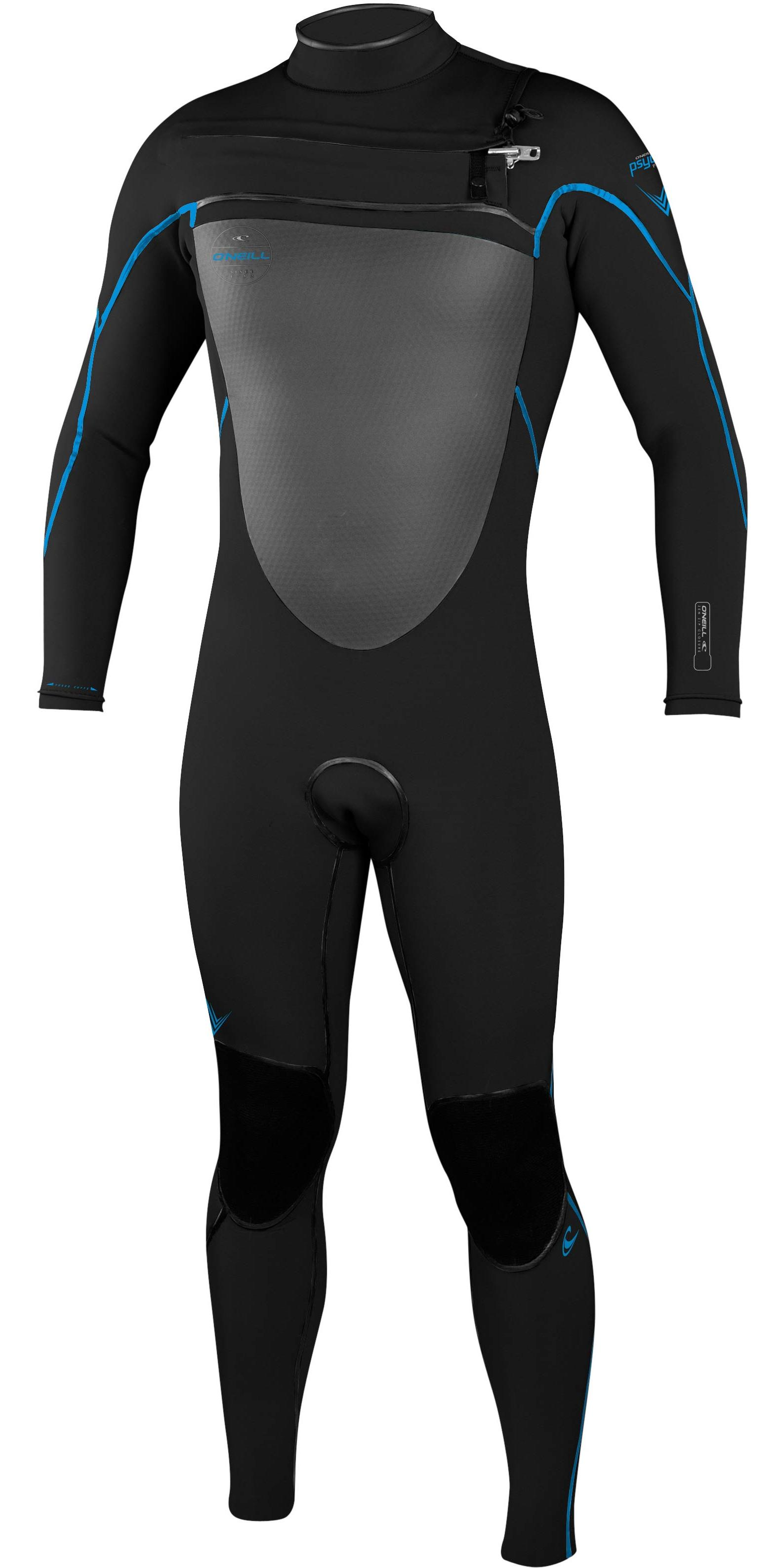 2017 O'Neill Psycho Freak 3/2mm Chest Zip Wetsuit BLACK / BRITE BLUE 4567