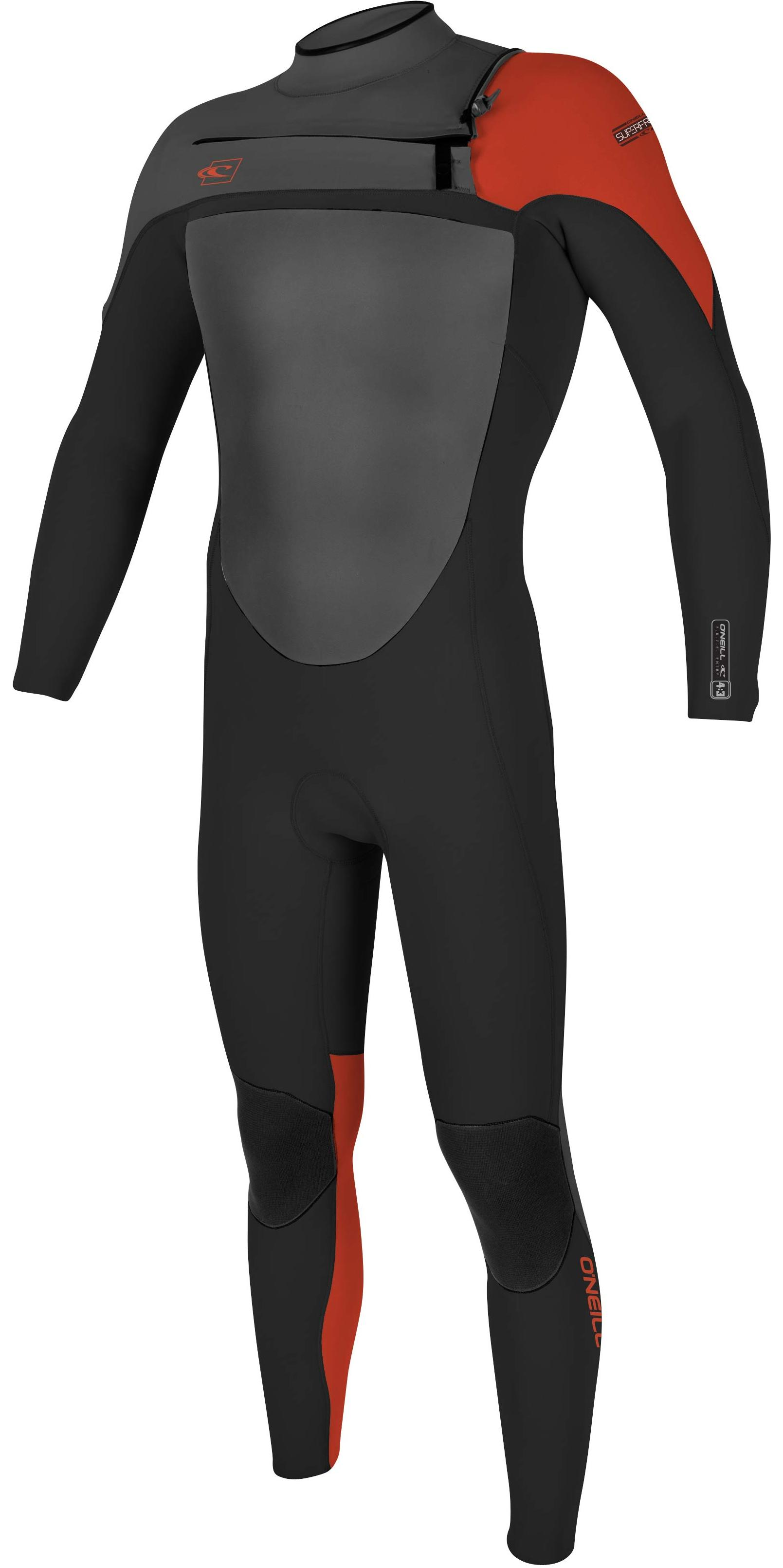 2017 O'Neill SuperFreak 4/3mm Chest Zip GBS Wetsuit BLACK / GRAPHITE /RED 4769
