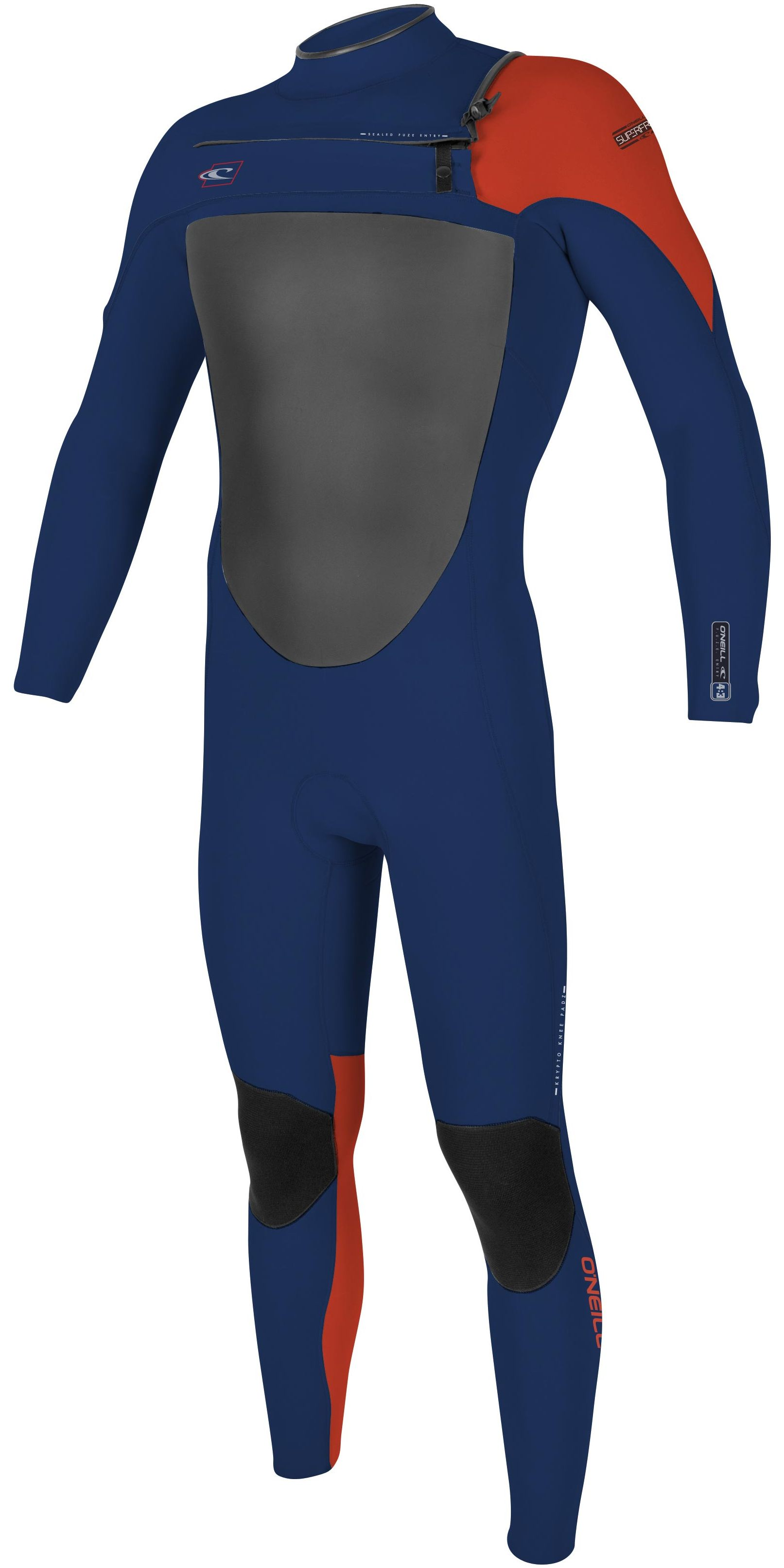 2017 O'Neill Youth Superfreak 5/4mm Chest Zip Wetsuit NAVY / RED 4776