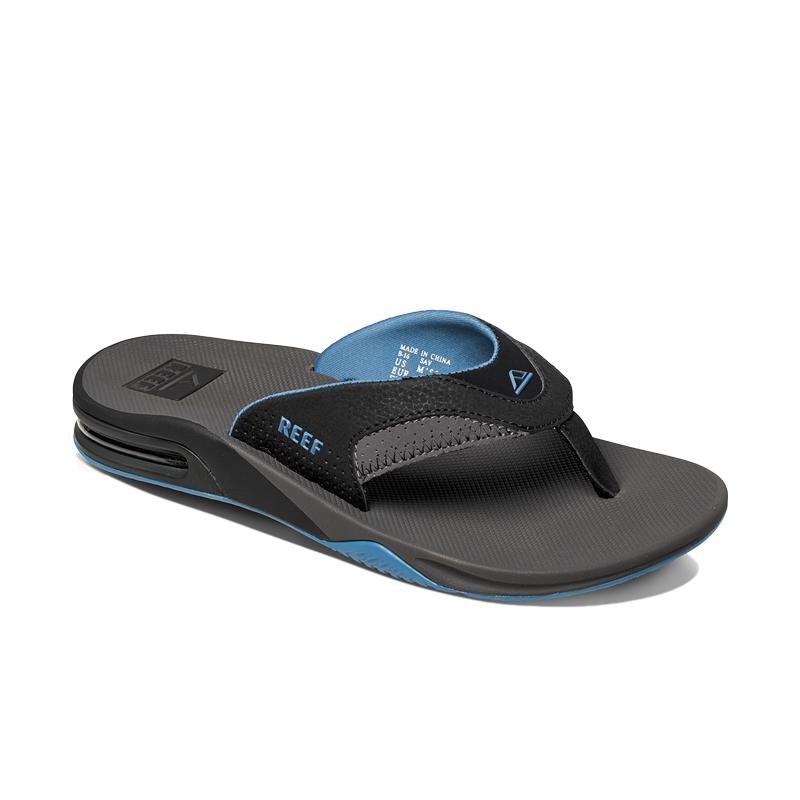 2017 reef fanning bottle opener flip flops grey light blue r2026 r2026 flip flops footwear. Black Bedroom Furniture Sets. Home Design Ideas