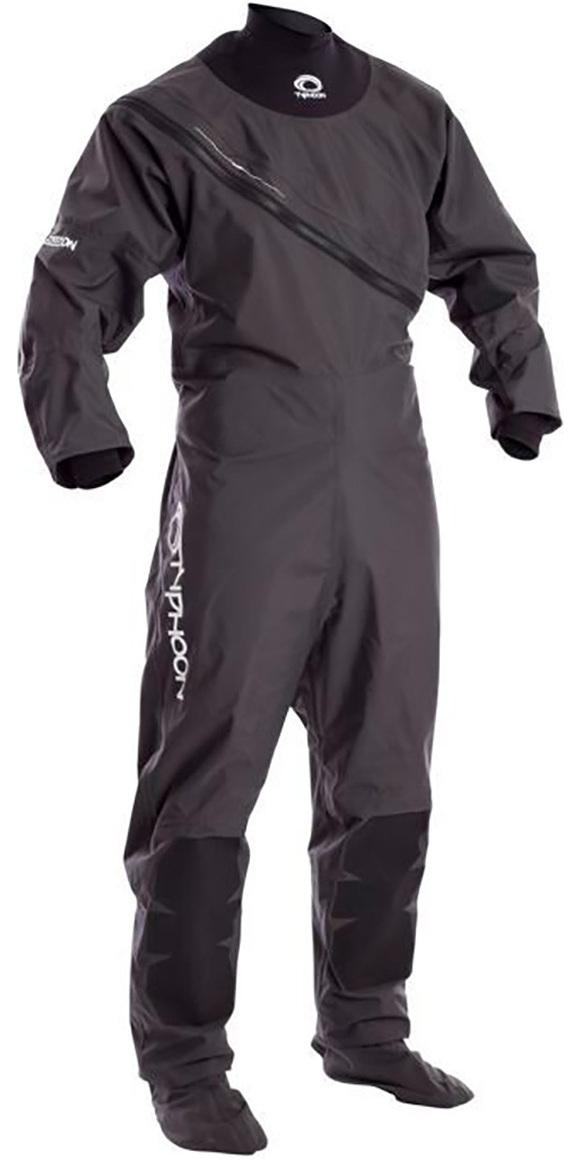 2019 Typhoon Junior Ezeedon 3 Drysuit Front Zip + Fabric Socks Grey 100158