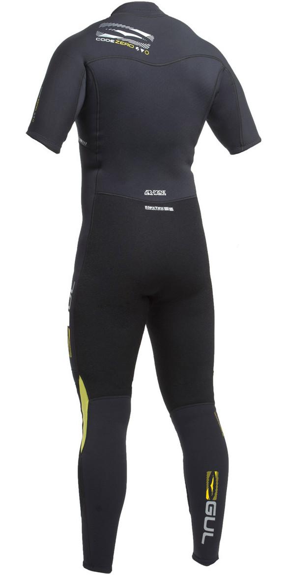 2019 Gul Code Zero 3/2mm FZ Short Arm Wetsuit BLACK CZ2301-B2