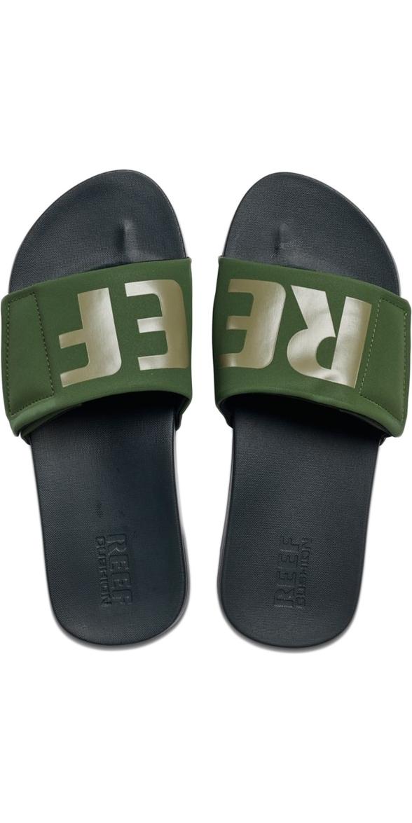 7e8f6f5232a Reef Mens Cushion Bounce Slide Sandals / Flip Flops Olive / Grey  RF0A3OL5OGL ...