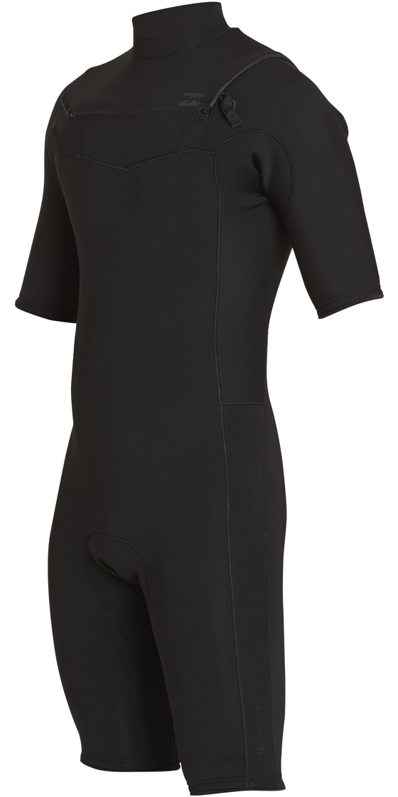 2018 Billabong Revolution 2mm Chest Zip Shorty Wetsuit BLACK H42M14