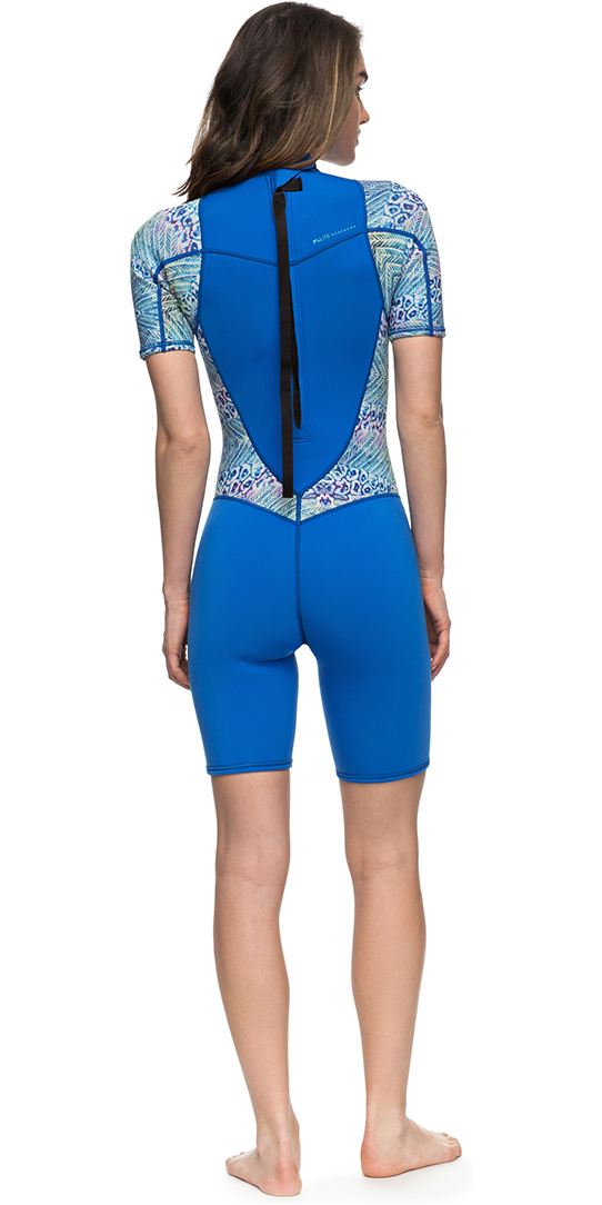 Roxy Womens Syncro Series 2mm Back Zip Shorty Wetsuit SEA BLUE II ERJW503007