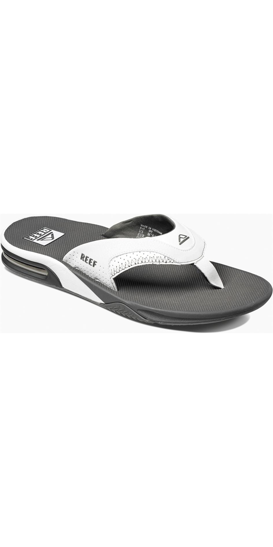 2c0122c15d27 Reef Mens Fanning Flip Flops Grey White RF002026