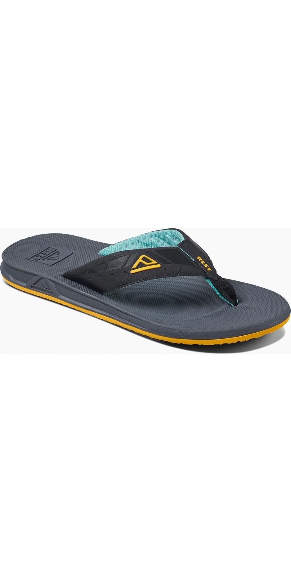 1afd28a69922 Reef Mens Phantoms Flip Flops Aqua Yellow RF002046