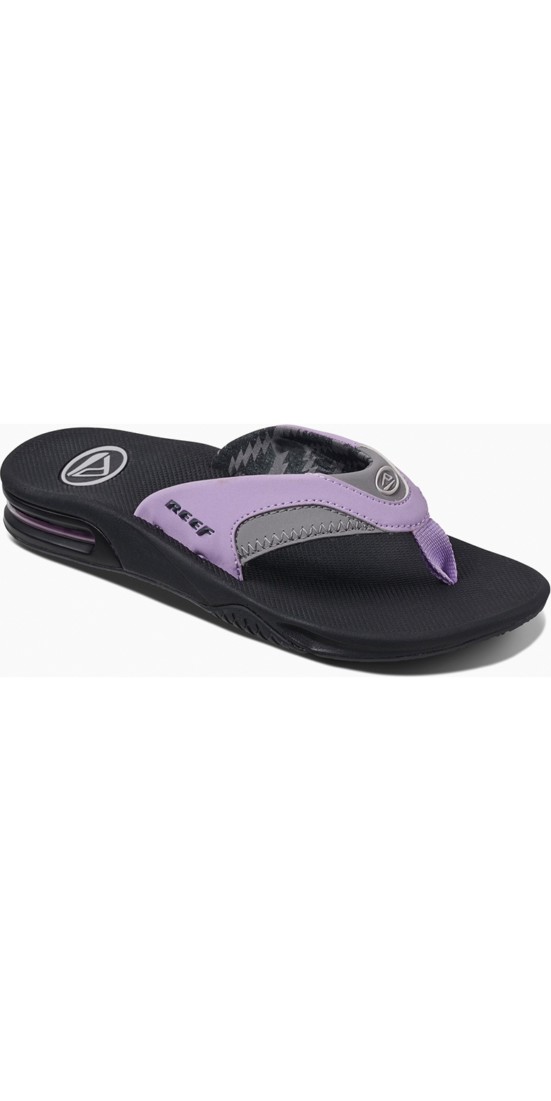 db3d35e5ddd4 2019 Reef Womens Fanning Flip Flops Grey   Purple RF001626 ...