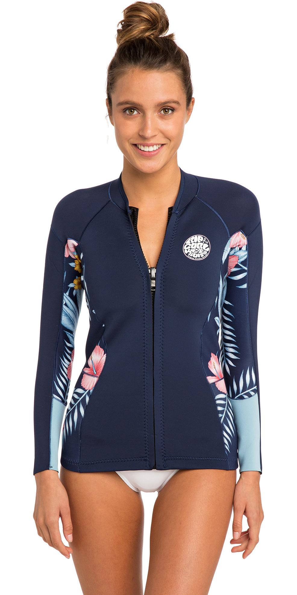 6c4b26a6999824 2019 Rip Curl Womens Dawn Patrol Long Sleeve Neoprene Jacket Navy Wve8bw -  Womens Neoprene   Wetsuit Outlet
