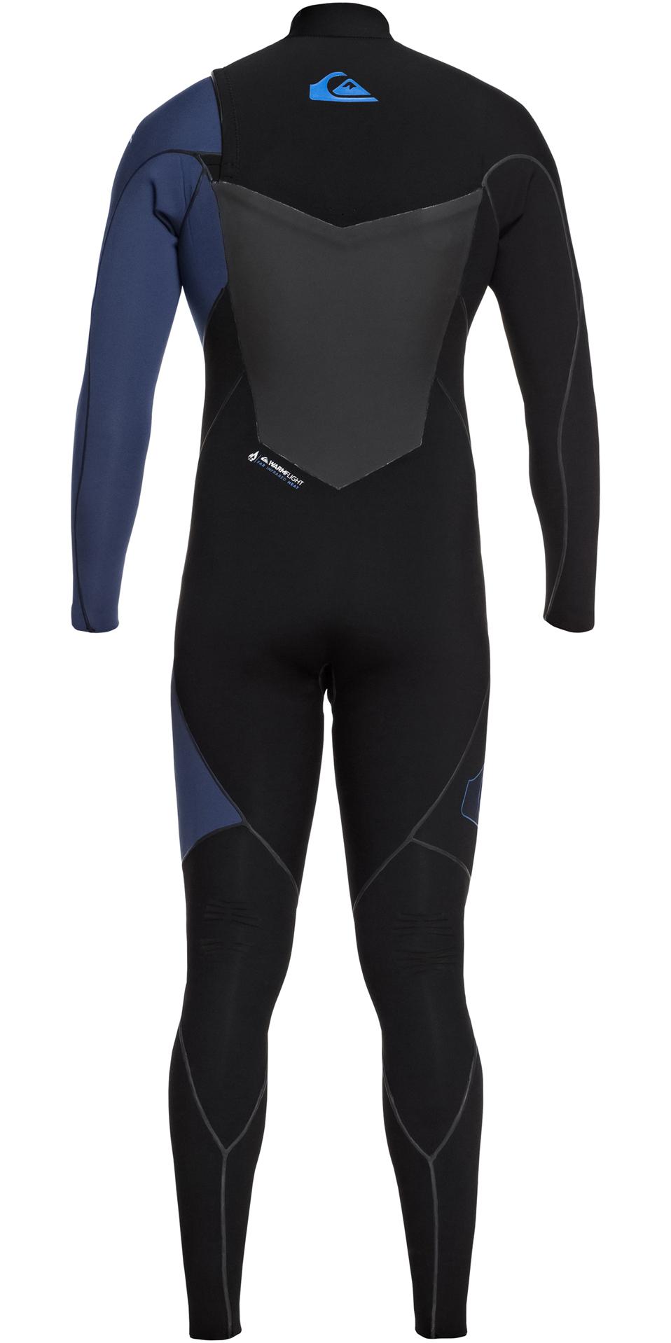 2019 Quiksilver Highline Plus 3/2mm Chest Zip Wetsuit Black / Iodine Blue EQYW103060
