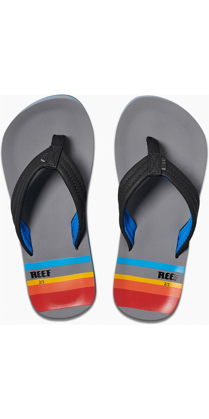 2019 Reef Kids Ahi Sandals / Flip Flops Grey Pinstripes RF0A3VBL