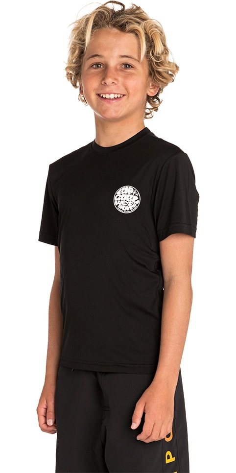 2019 Rip Curl Junior Boys Search Surflite UV Rash Vest Black WLY7FB
