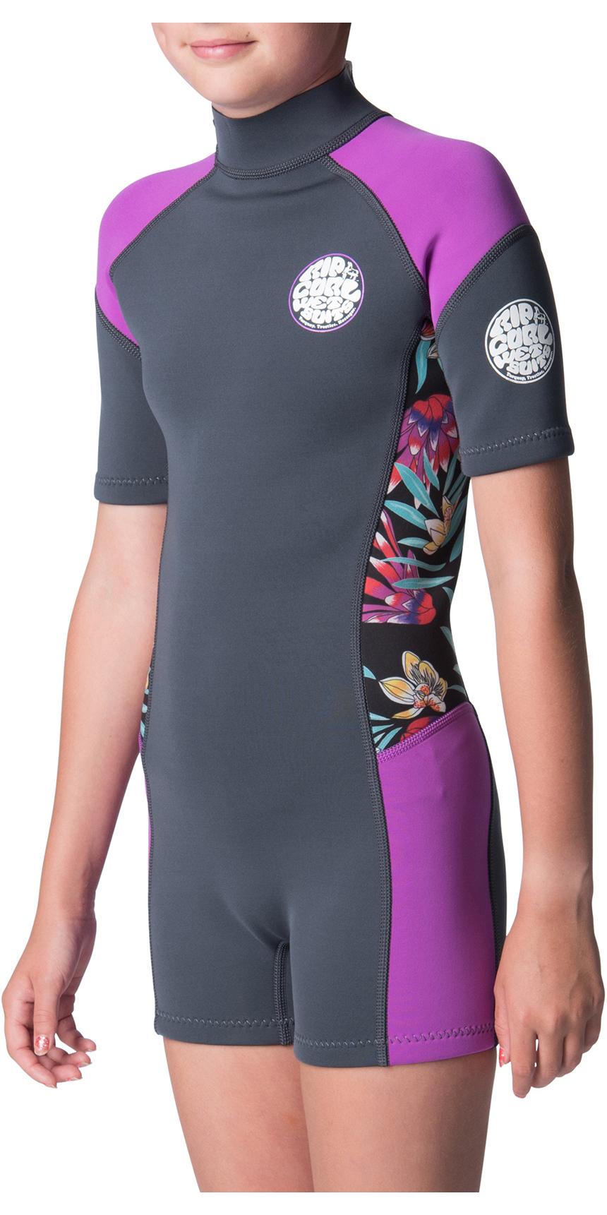 2019 Rip Curl Junior Girls Dawn Patrol Spring Shorty Wetsuit Purple WSP8BJ