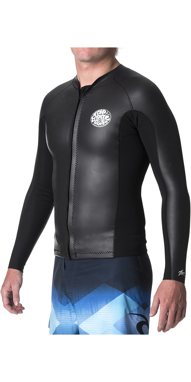 2019 Rip Curl Mens Aggrolite 1.5mm Front Zip Neoprene Jacket Black WVE6MM