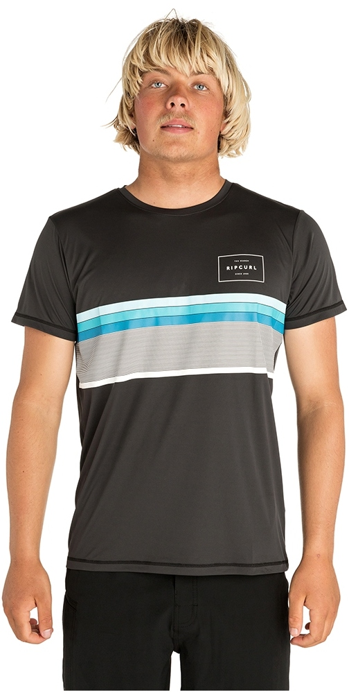 2019 Rip Curl Mens Rapture Surflite Short Sleeve Rash Vest Charcoal WLY8BM