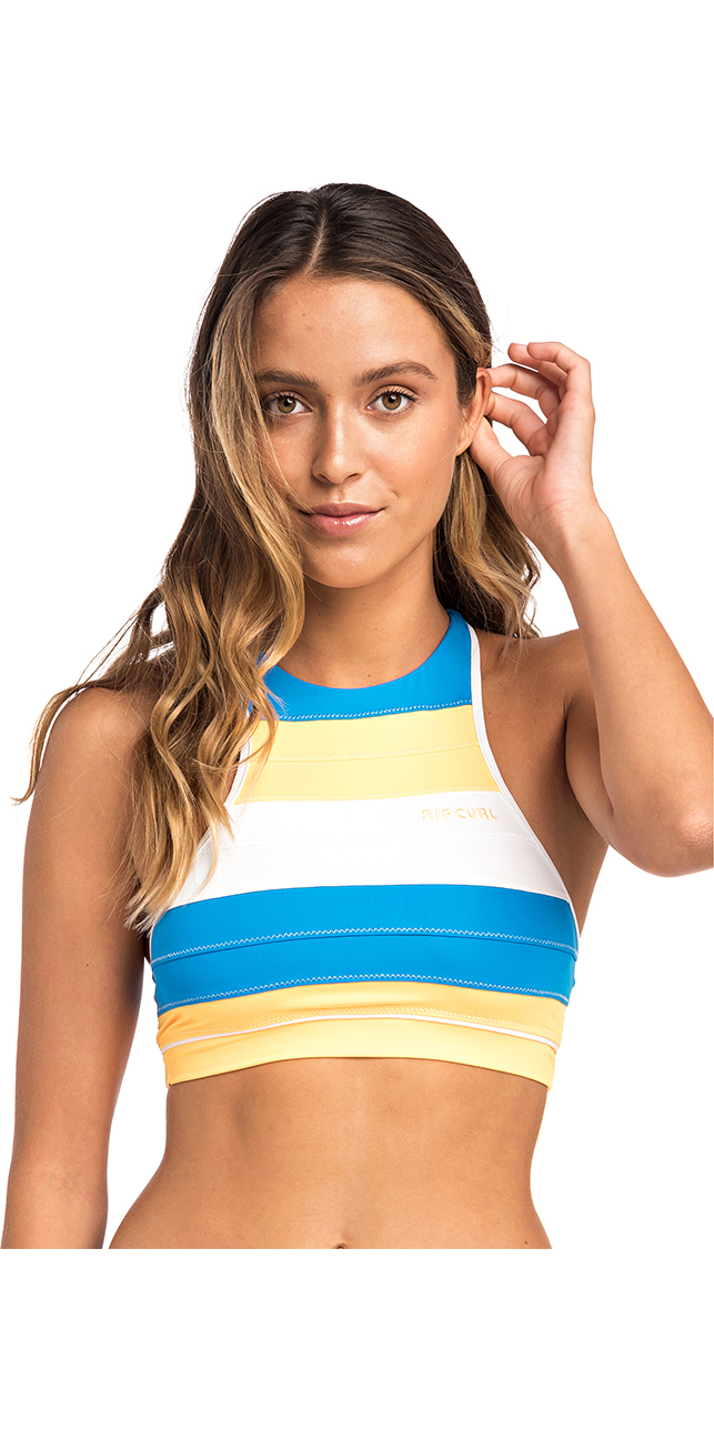 2019 Rip Curl Womens Heat Waves Crop Bikini Top Mango GSIFN5
